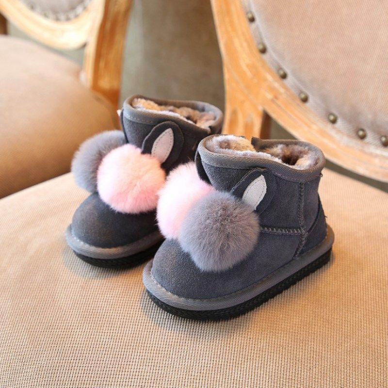 Children Toddler Shoes Baby Infants Fur Ball Girls Cute Ball Soft AntiSlip Shoes