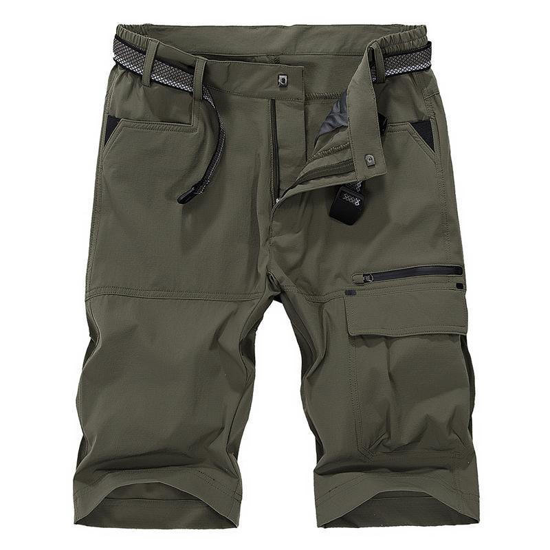 YIHUAHOO Rahat Şort Erkekler Çok Cepler Ordu Kargo Erkek Şort Ince Nefes Hızlı Kuru Sporting Kısa Pantolon MS-16962