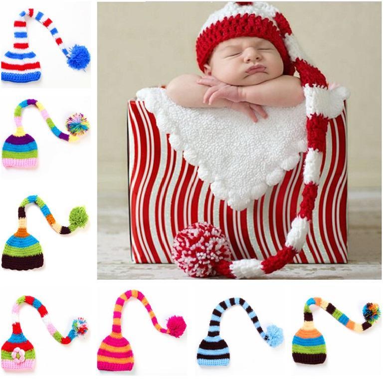 اليدوية حك سانتا قبعة الكروشيه الطفل عيد الميلاد القبعات طفل رضيع فتاة عيد الميلاد بوم بوم قبعة الرضع طويل الذيل الشريط بيني حزب قبعات دعامة JXW482