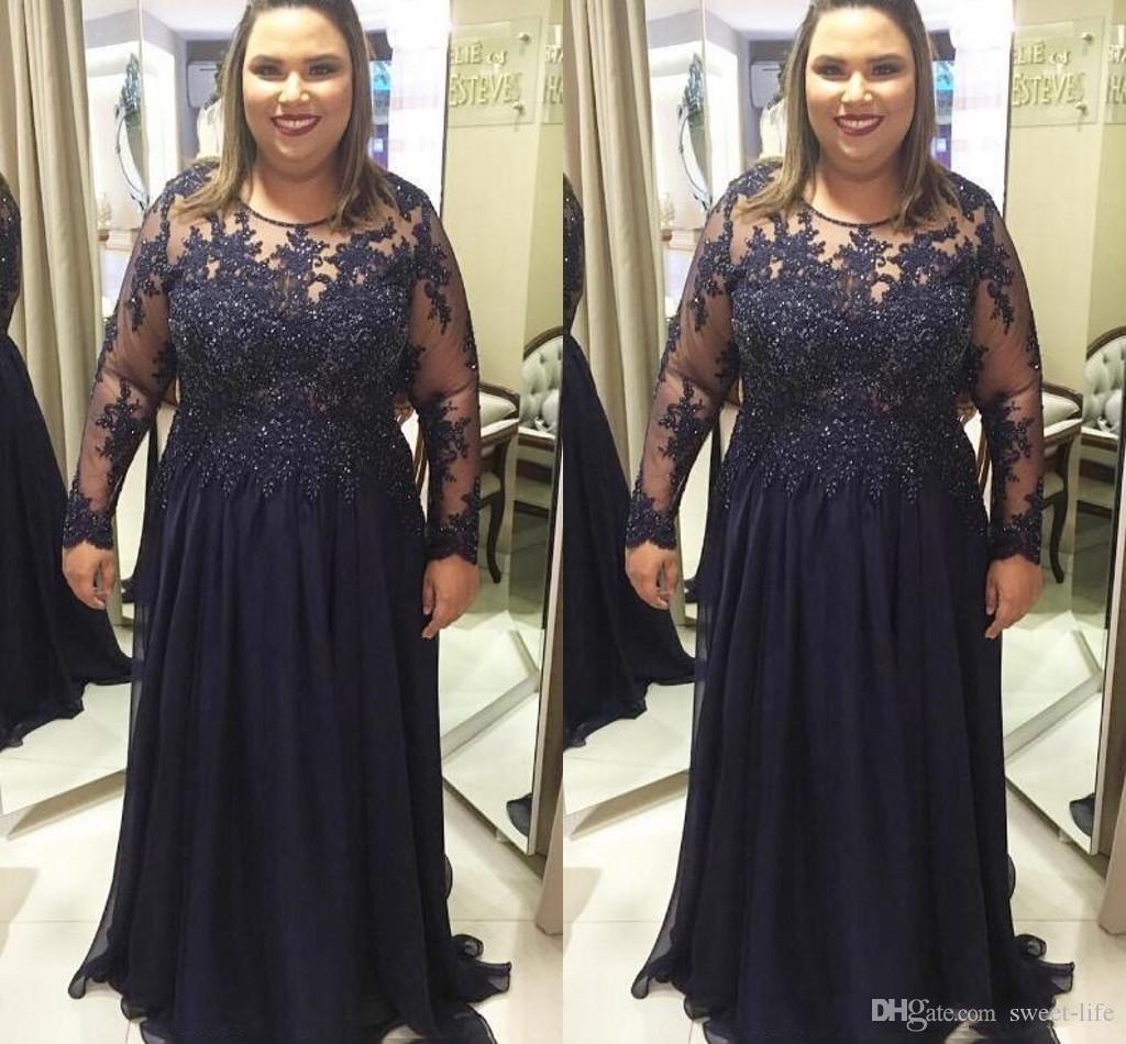2020 Lacivert Artı boyutu Gelin Elbise Uzun Kollu Dantel Aplike Kat Uzunluk Düğün Parti Akşam Balo Abiye şifon Anne