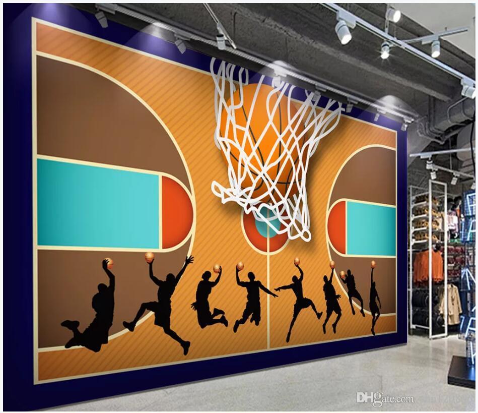 3d Wallpaper Custom Photo Basketball Court Net Silhouette Air Tooling Decor Living Room 3d Wall Murals Wallpaper For Walls 3 D Living Room Hd