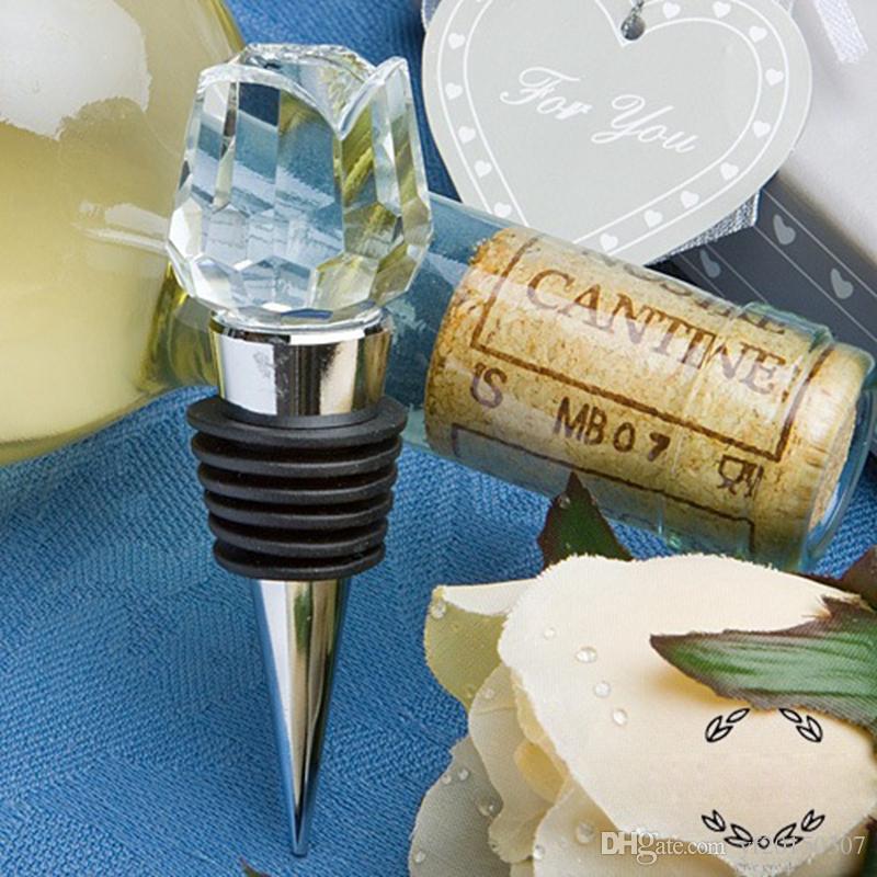 Rosas de cristal Tapón de la botella de vino Favores de la boda Tapones de vino con caja de regalo Regalos para la fiesta Regalos de boda para invitados
