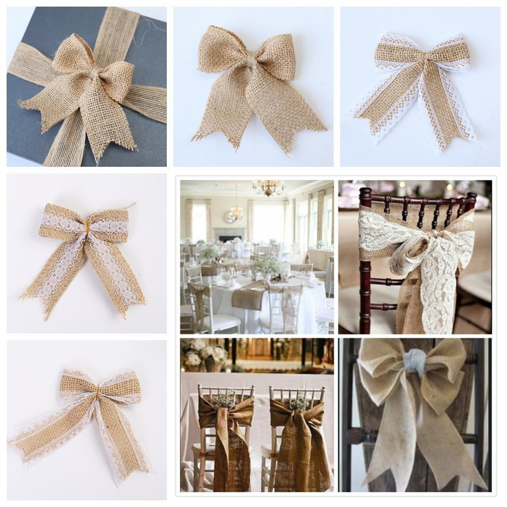 Natural Hessian Jute Burlap Lace Bows DIY Crafts Bow Ties Wedding Party Decor