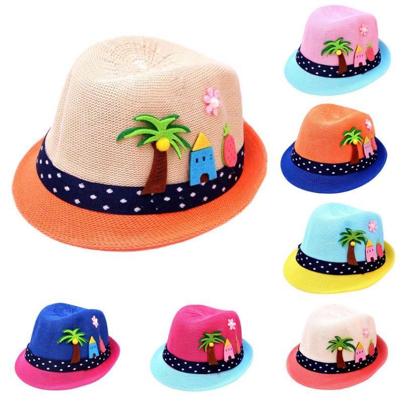 Summer Baby Cartoon Hat Children Breathable Hat Straw Hats Kids Boy Girls Cap Summer Colorblock Sunscreen Beach Cap#Y20