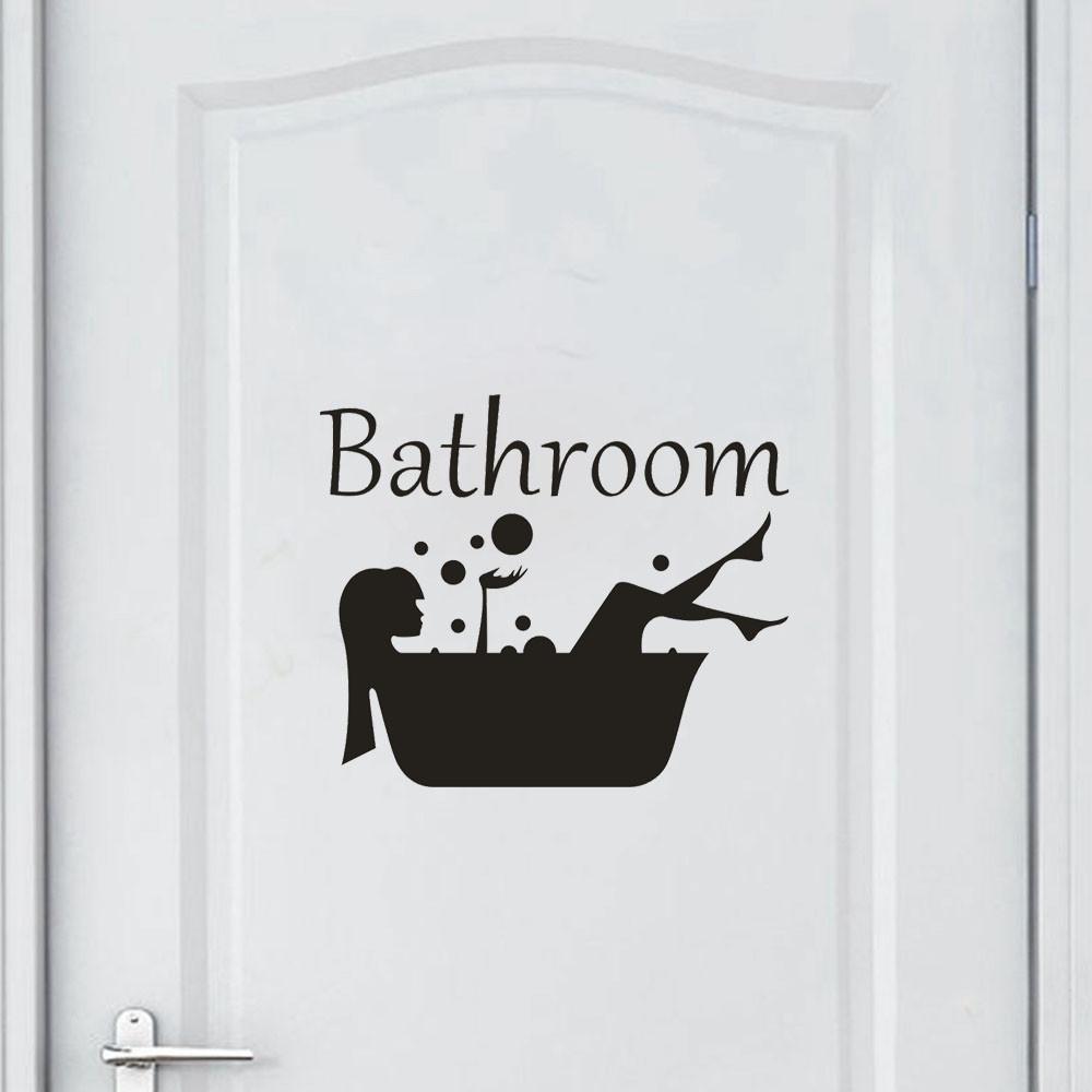 Bathroom Toilet Door Sign Vinyl Interior Wall Stickers Decor Art Decal Mural UK