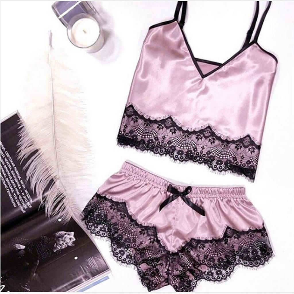 QWEEK 실크 잠옷 Women Satin 잠옷 Set Pigiama Raso Satin Summer 2019 Lingerie Pijama Sexy Mujer 2 Pieces Short Pajama