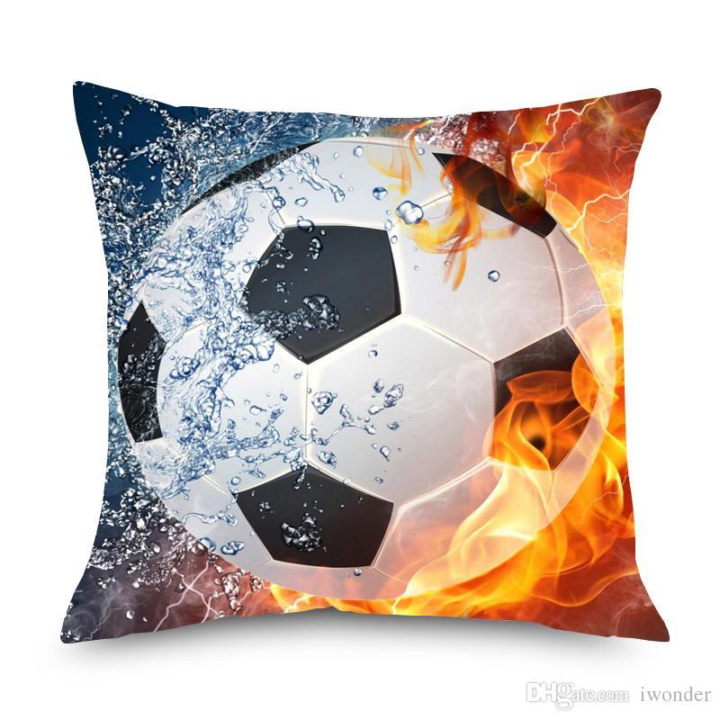 Basquete Futebol Americano Com Capas de Almofada de Fogo 3D Travesseiro de Linho De Futebol Estéreo 45X45 cm Sofá Cadeira Decoração