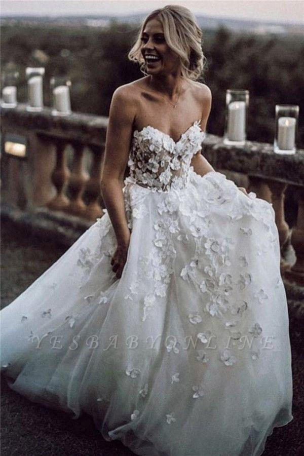 2020 Strapless Sweetheart Wedding Dresses 2020 Applique Wedding Gowns with Handmade Flowers Bridal Gowns Zipper Back Sleeveless