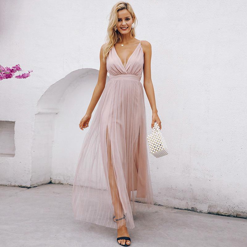Robe d'été Parti Robes maille rose dentelle femmes robe élégante soirée col V Maxi Robe de Noël Automne Sexy Party longue Festa Vestido