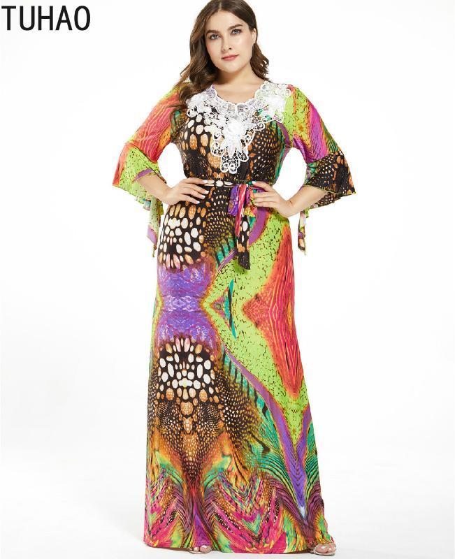 TUHAO 2020 весна лето мать мама печати платье партии женщин плюс размер 7XL 6XL 5XL богемское Maxi Длинные платья Sexy платья WM03