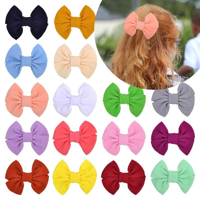 4.7 Inches Solid Hair Bows With Clip For Cute Baby Girls Nylon Handmade Hair Clips Boutique Barrettes Headwear Accessories