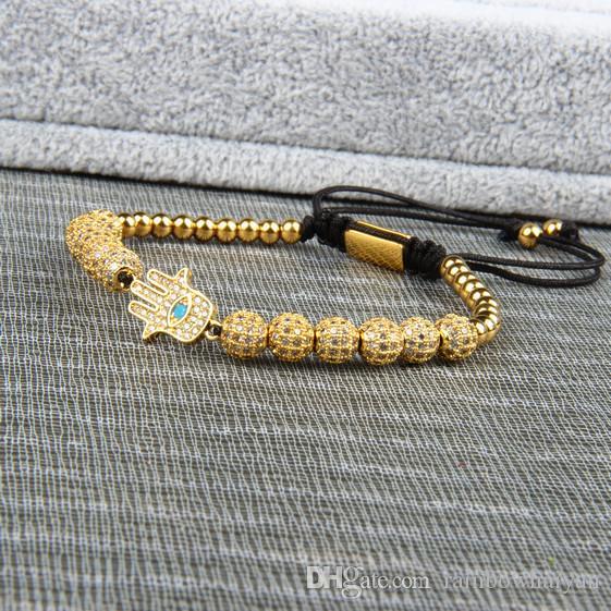 New Bracelet Men And Women Hamsa Braiding Bracelet Wholesale 6mm Cz Ball Beads Stainless Steel Jewelry Top Quality