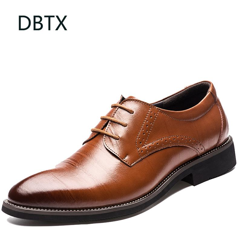 Men Formal Shoes Leather Wedding Brogues Shoes Lace-Up Bullock Business Dress Male Shoes Oxfords High Quality Big Size