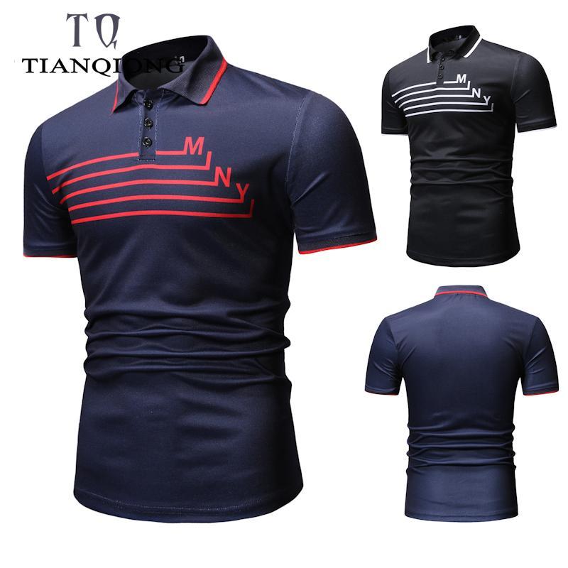 새로운 패션 브랜드 폴로 남자 스트 라이프 반소매 슬림 맞는 여름 칼라 셔츠 Polos Boys 캐주얼 남성 의류 SH190718
