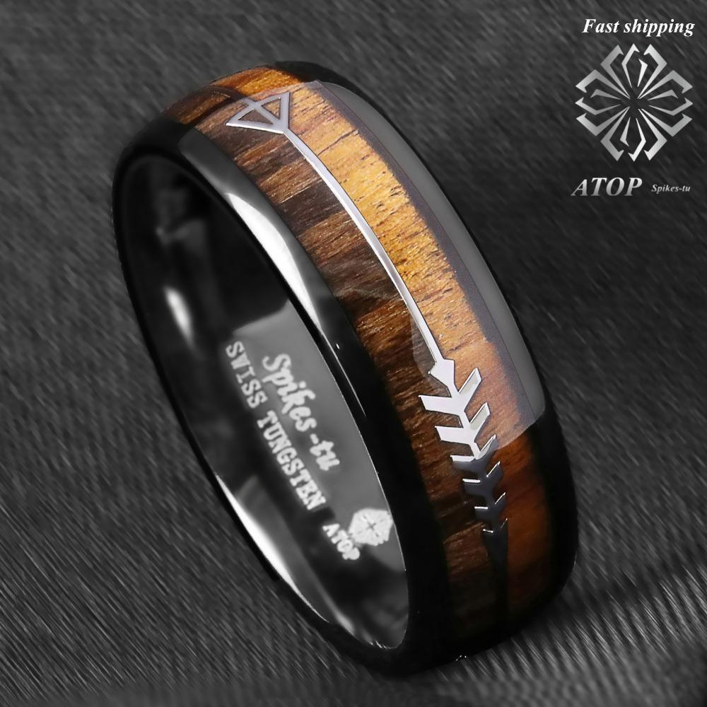 8mm Black Dome Tungsten Ring 2 Style Wood Arrow Wedding Band Atop Men Jewelry Y19062004