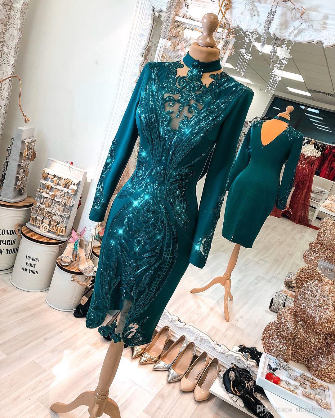 2020 арабский ASO Ebi Бургундия кружева вечерние платья из бисера высокие шеи оболочки выпускного вечера платья колена длина Формальная партия второе приемные платья ZJ225