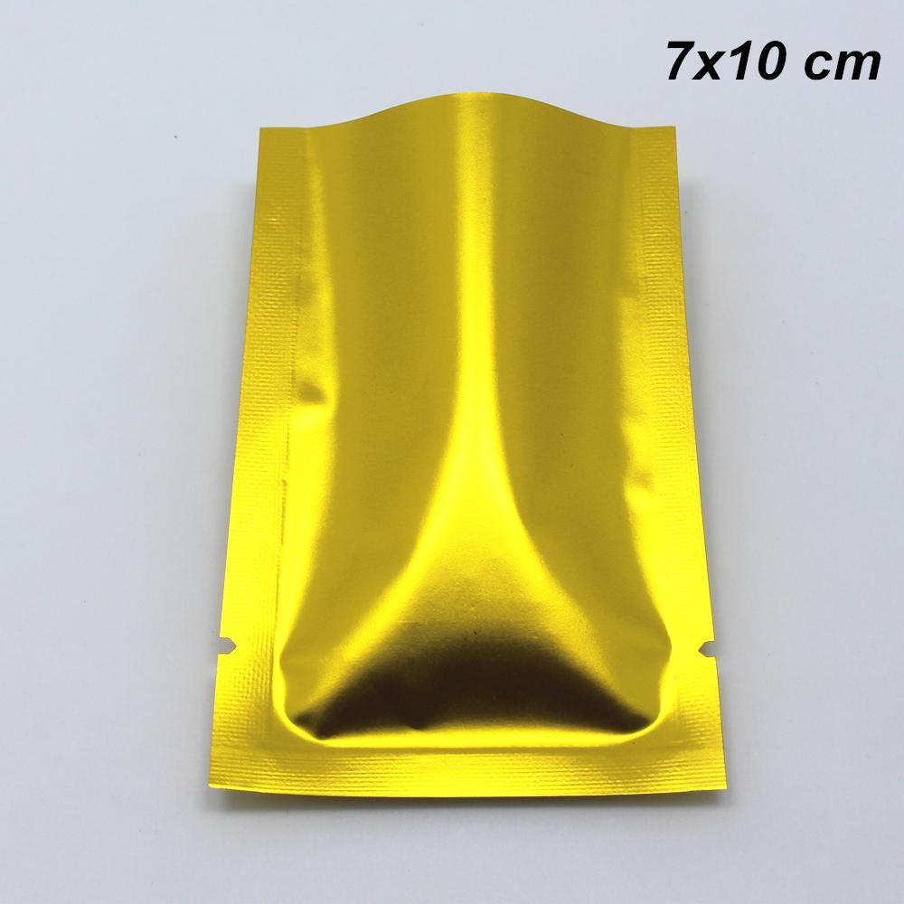 Уплотнительные пакеты Matte Open Top Mylar Foil Poughates Уплотнительные вакуумные закуски конфеты орехи для алюминиевого золотого теплового вакуума 7x10 см.