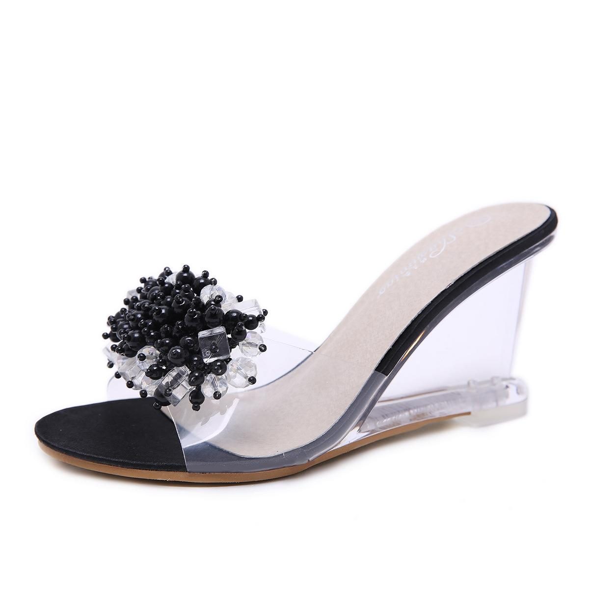 Femmes Chaussons Sandales 2020 Sexy Summer cristal transparent hauts talons en verre strass Chaussons Taille 34-43