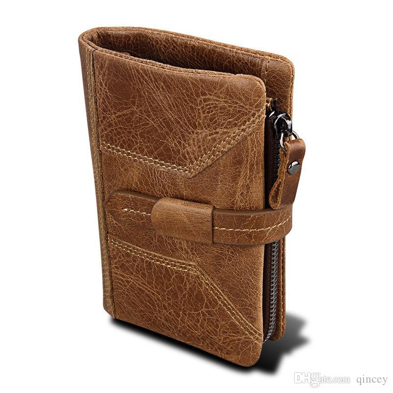 Portamonete in vera pelle, fermasoldi, credito lungo in carta Frizione di lusso Portafoglio uomo di marca, vera pelle