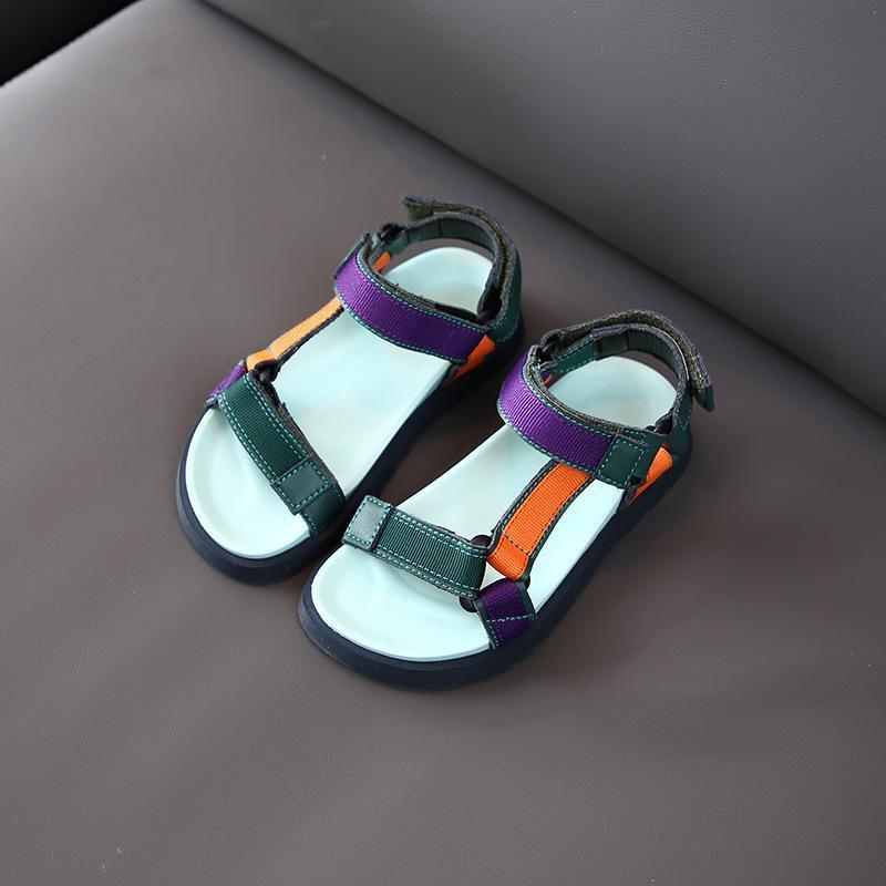 Натуральная кожа мальчиков Повседневная обувь 2020 Летняя пляжная обувь INS Популярные Дети Сандалии Крюк Loop Тканые Девушки сандалии Sandalias