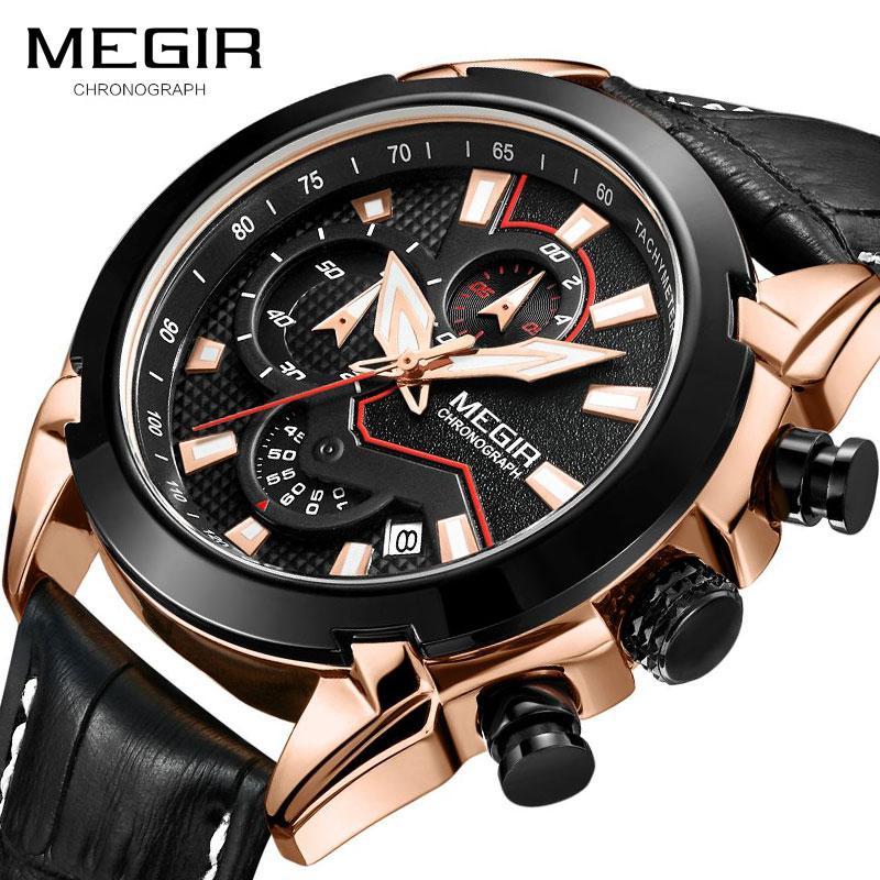 MEGIR Moda Takvim Erkekler Akıllı Kuvars Saatler Deri Kayış Spor Chronograph Işıltılı Su geçirmez saatler Relogio