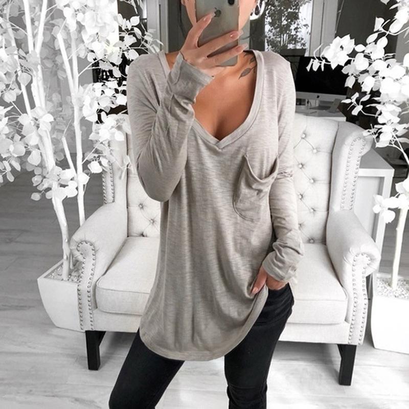2019 Autumn Sexy scollo a V maglietta casuale Donna Solid molla maglietta allentato Rosa Grigio signore maniche lunghe T-shirt epoca parti superiori i NUOVI Y200111