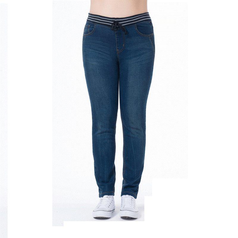 Lguc.H Fat MM Blue Pencil Pants Large Size Female Jenas 5XL 6XL 7XL High Quality Cotton Elastic Casual Unique Jeans Women M-7XL