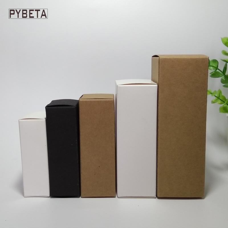100pcs-10ml / 15ml / 20ml / 30ml / 50ml / caixa de papel 100ml Branco Preto Kraft para Essential presente amostra pacote de tubos de válvulas Sprays de óleo