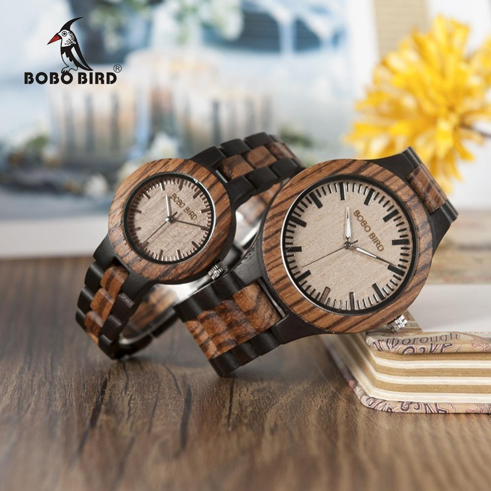 Bobo Bird N28n30 Zebra Ebony Wooden Watches For Men Women Two-tone Quartz Lovers Watch With Tool For Adjusting Size Wood Box Y19052201