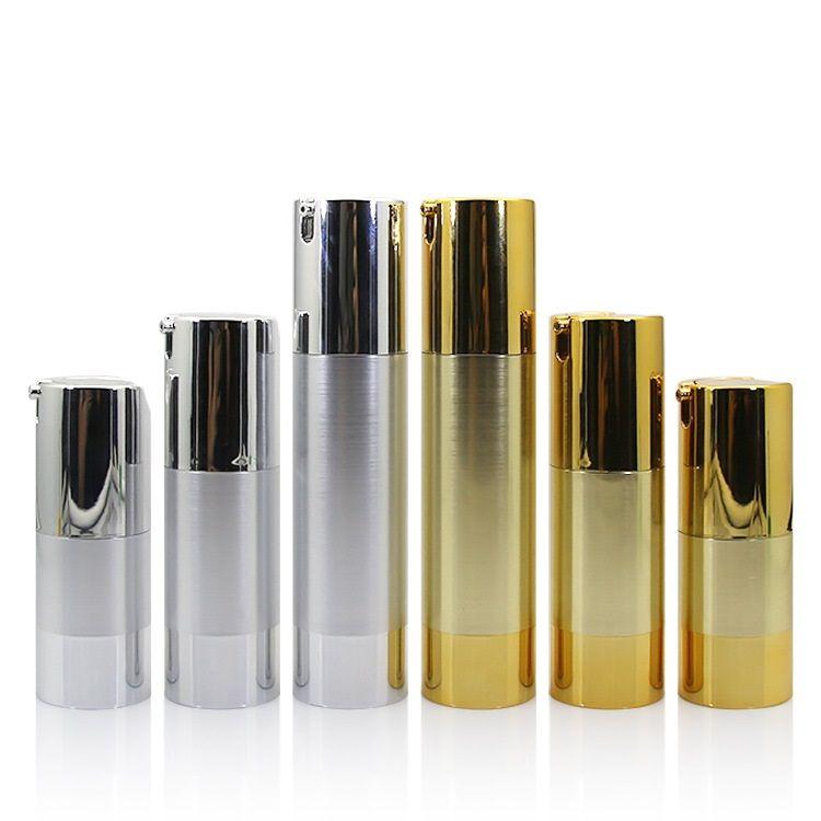 Bouteilles rechargeables portatives de distributeur de pompe de bouteille vide d'air cosmétique vide de bouteille d'or de 15ml 30ml 50ml pour la lotion de voyage