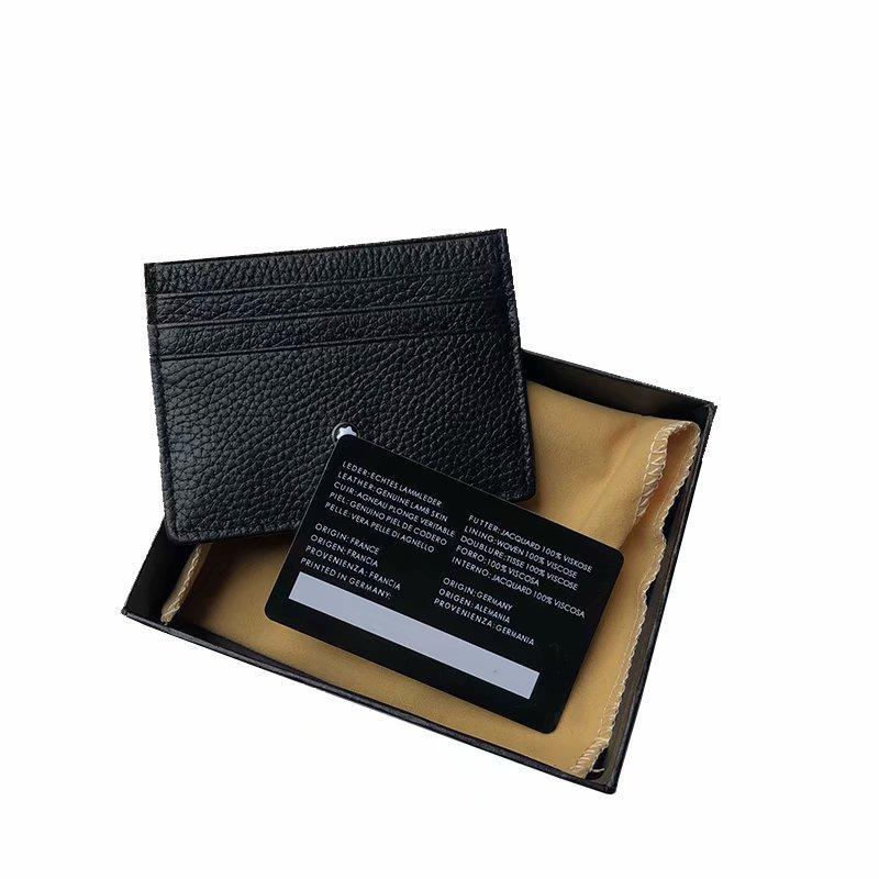 مربع التعبئة والتغليف عالية نهاية حقيبة حامل بطاقة الائتمان MB ID أزياء المحفظة حقيبة رقيقة جيب محفظة للجنسين متعددة بطاقة فتحة الغبار من رجال الأعمال الفاخرة