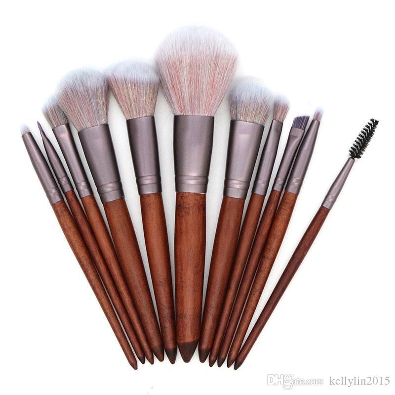 Makeup Brushes Set 11pcs Wooden Handle Powder Foundation Blush Eyebrow Eyeshadow Brush Multipurpose Make up Brushes Tools High Quality