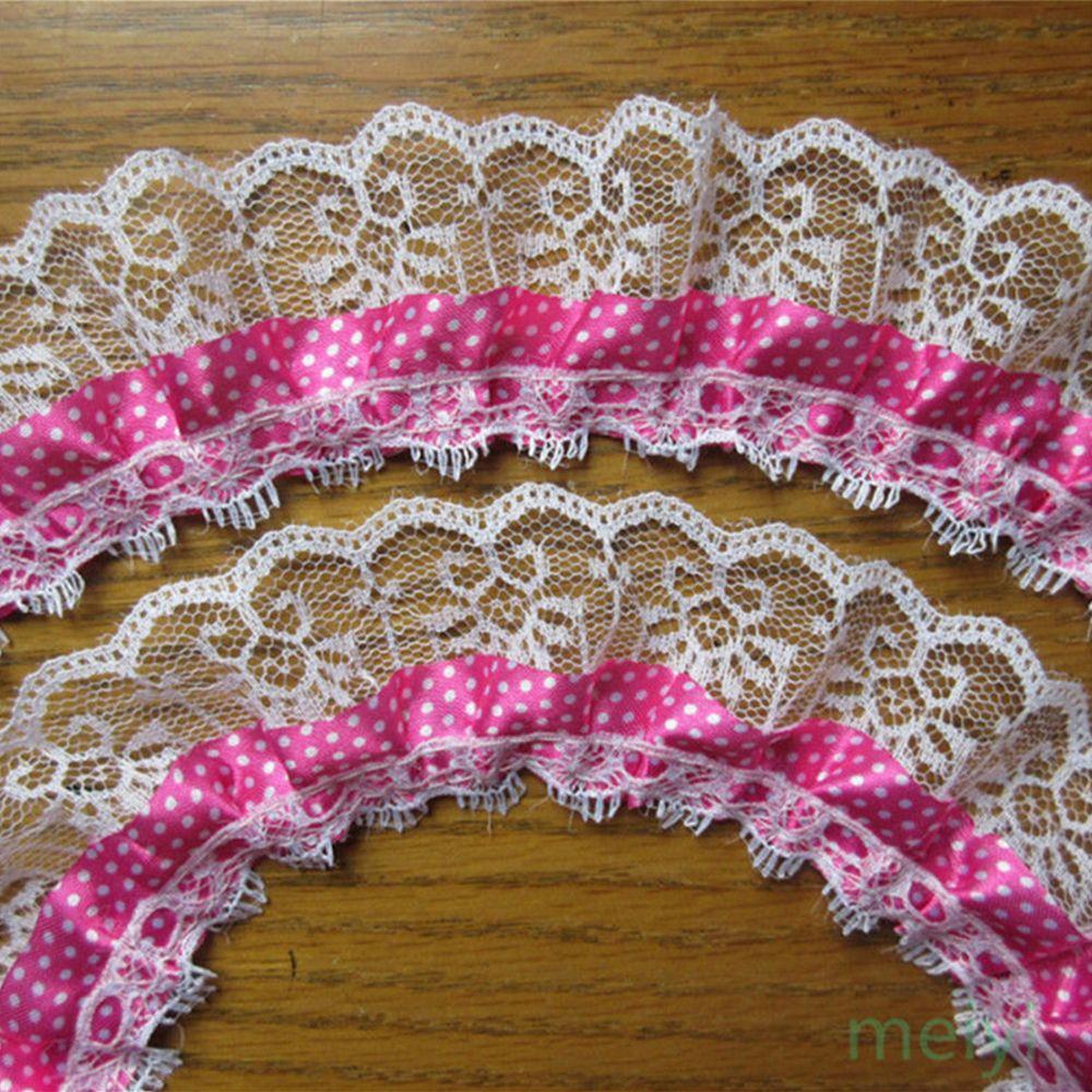 5 Yards  2-Layer Gathered Pleated Organza Lace Trim Wedding Bridal Dress Ribbon