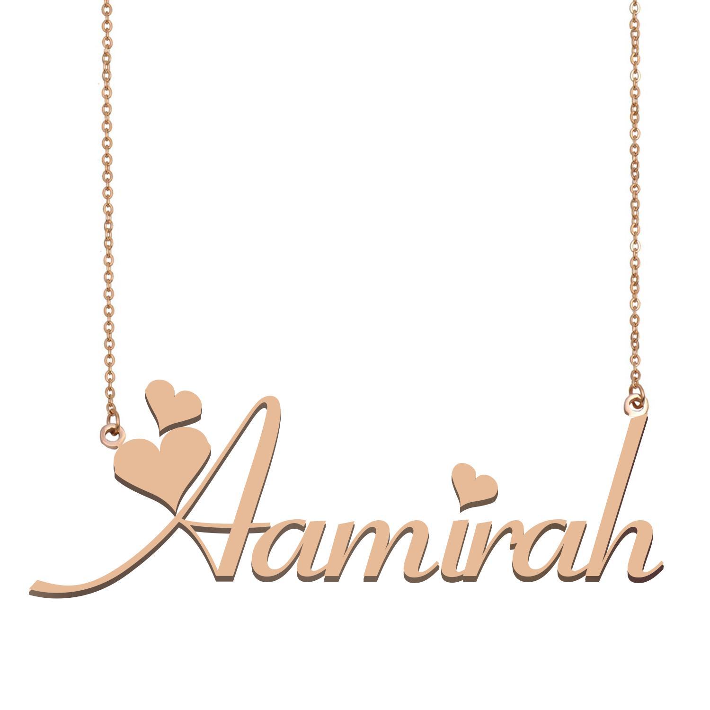 collier pendentif nom Aamirah pour les femmes filles cadeau d'anniversaire meilleurs bijoux d'amis de la famille personnalisée avec 18k Acier inoxydable plaqué or