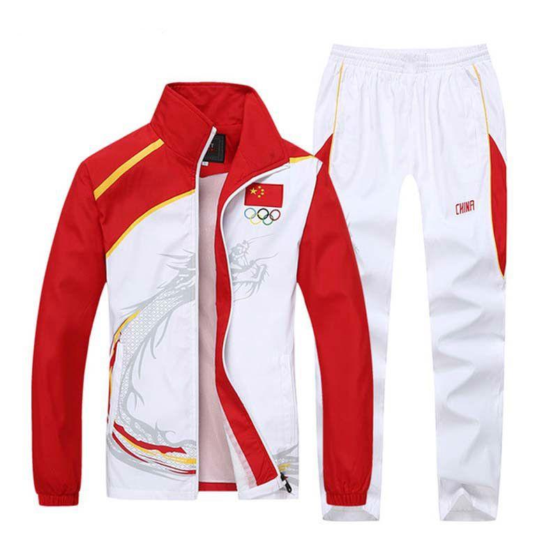 Uomini Set Zip collare del basamento vestito di sport Mens Tuta da jogging Sweatsuit Felpa Pantaloni sportivi jogging Olympia vestito di sudore maschile Set