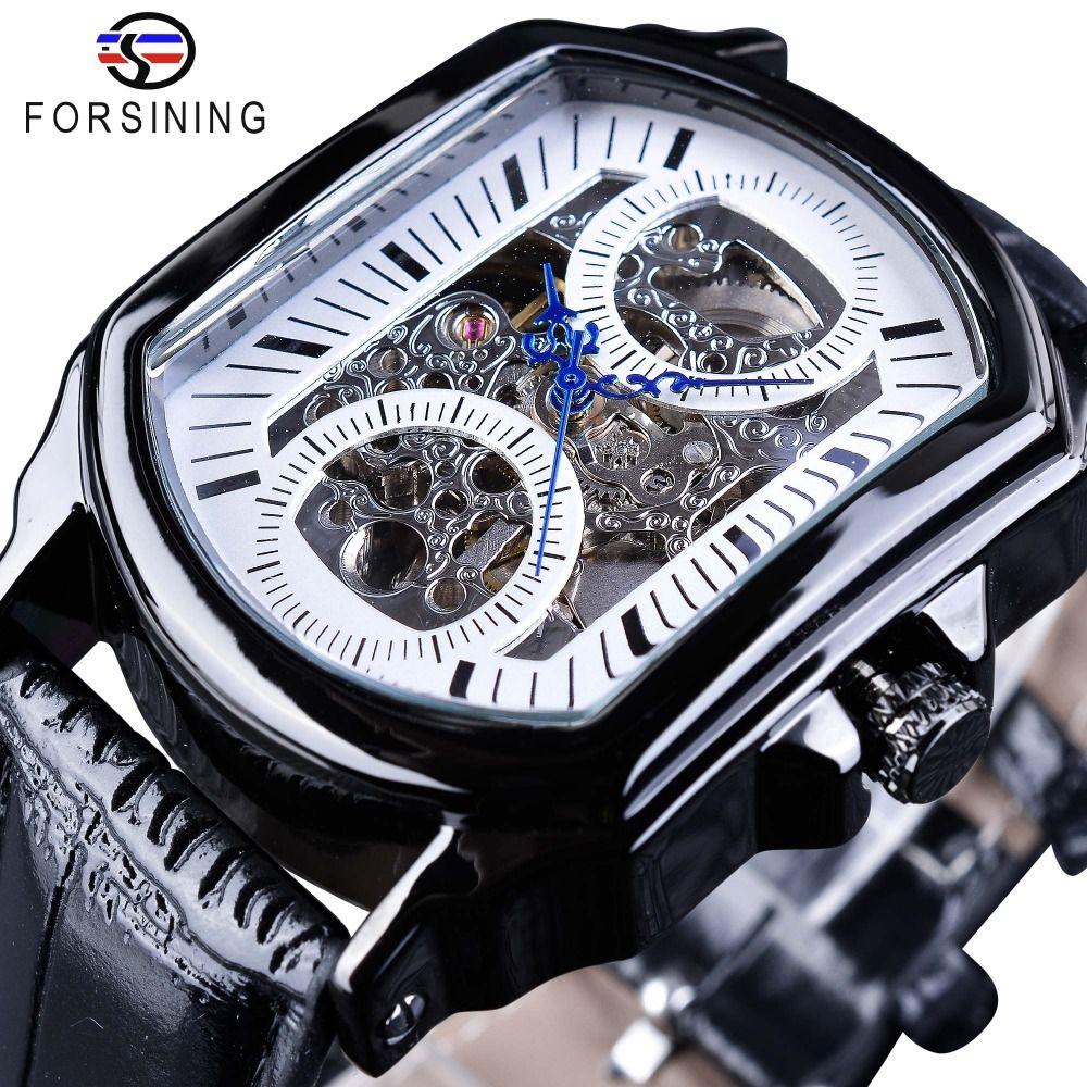 Forsining ретро Классический дизайн Мода синий Рука Прозрачный Ажурные Мужские механические часы Скелет Top Brand Luxury Мужской часы