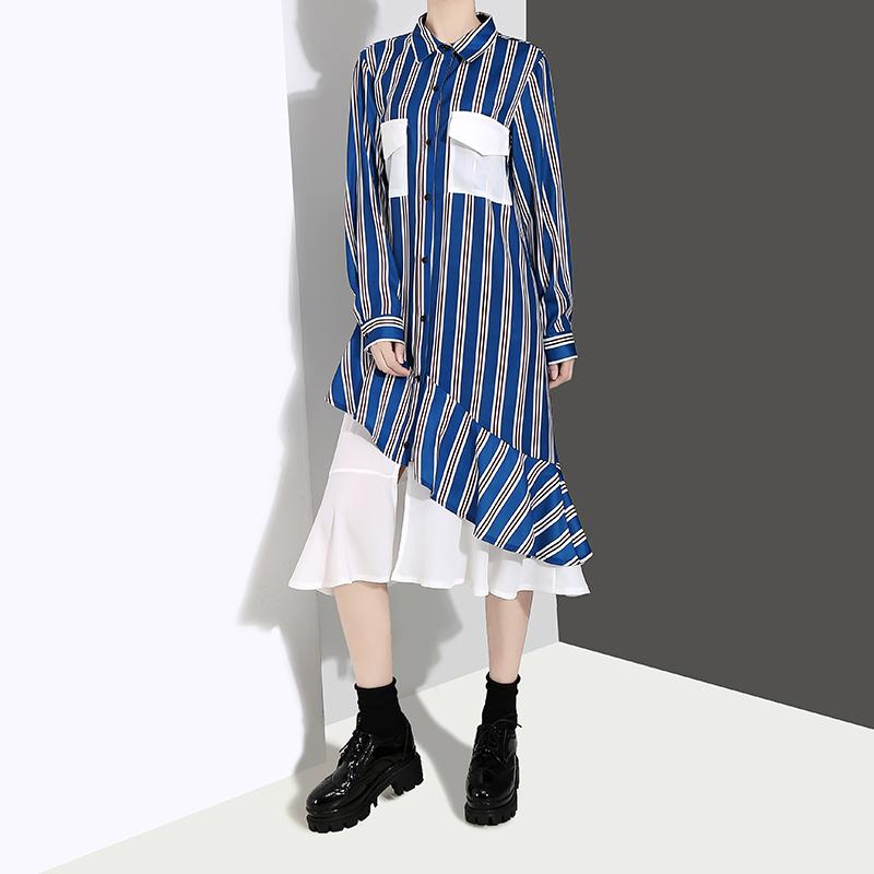 2019 Korean Style Blue Striped Shirt Dress With Pocket Patchwork Long Sleeve Lady Special Wear Midi Casual Party Dress Robe F262