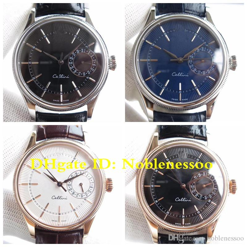 5 Color Swiss CAL.3165 Automatic Movement Antique Classic Men's Cellini Date Rose Gold 39mm m50515 50519 Men Leather Strap Watch Watches