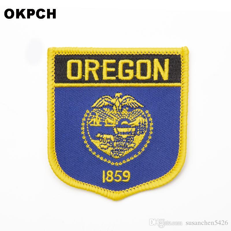 미국 오레곤 주 배지에 철 의류 스티커에 대 한 수 놓은 옷 배지 의류 1pcs 6 * 7cm