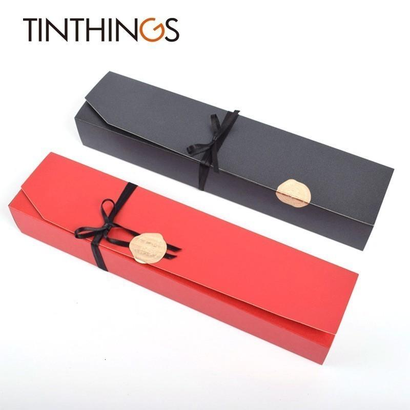 10 PCS Present Gift Box favor do casamento Chocolate de jóias de papel Gift Box Doce Red Black Box Embalagem fita Etiqueta Papelão
