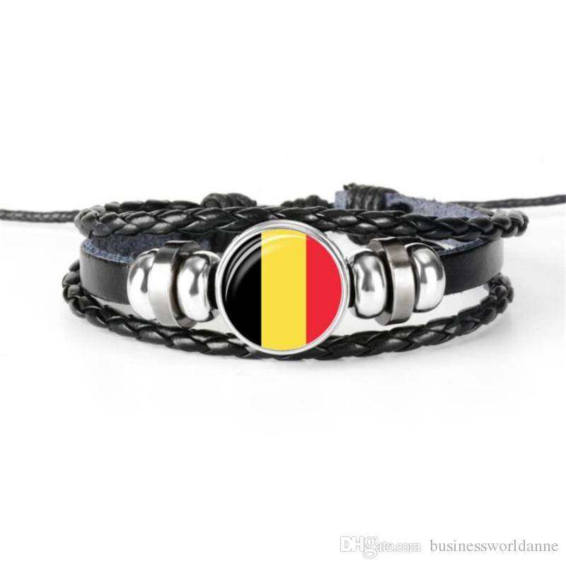 Fashion Belgium National Flag World Cup Football Fan Time Gem Glass Cabochon Button Bracelet Black Leather Rope Beaded Jewelry for Women Men