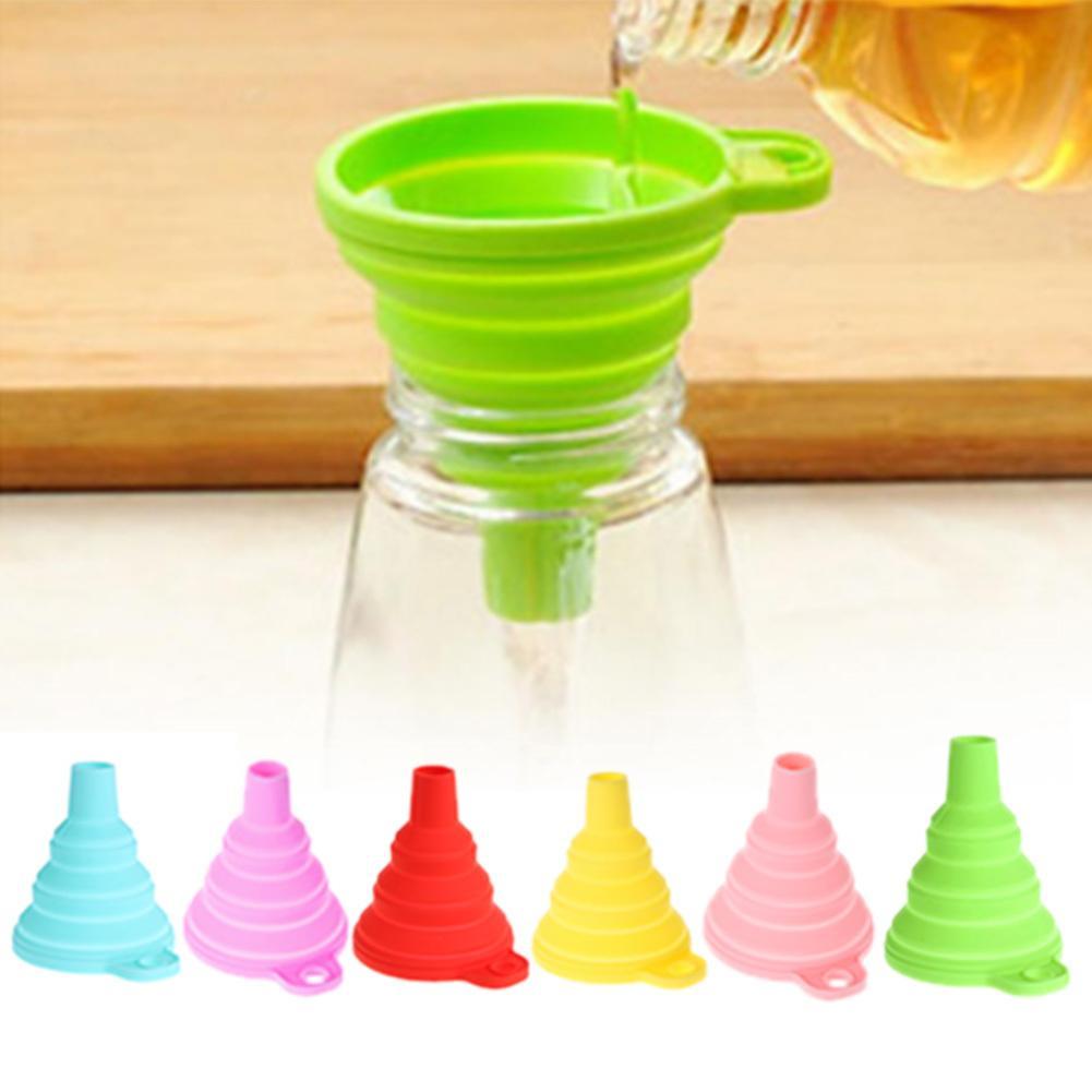 Entonnoir pliable en silicone entonnoir pliable pour trémie de bouteille d'eau Entonnoir pliable de cuisine pour transfert de poudre liquide 6 couleurs