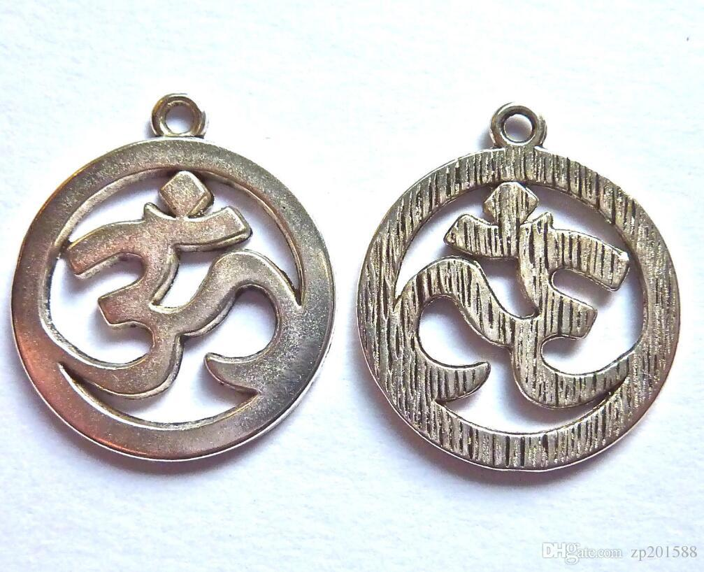 100pcs Vintage Silver AUM OM SYMBOLS SILVER COLOUR DISC Charms 25x29mm Pendant Beads For Bracelet Jewelry Findings Handmade Craft Gift NEW