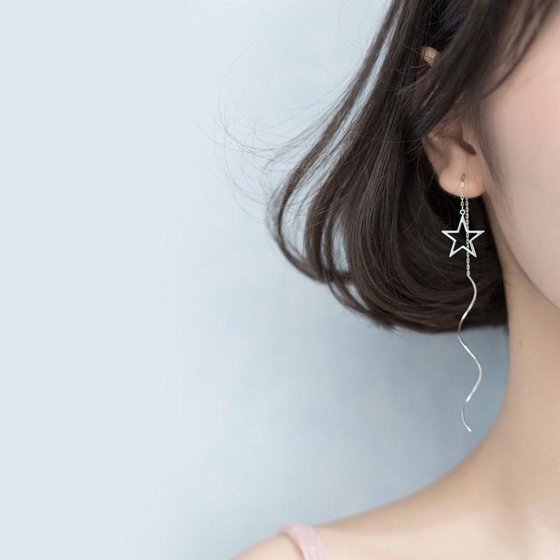 Exquisite simple star wave earrings s925 sterling silver earrings for women