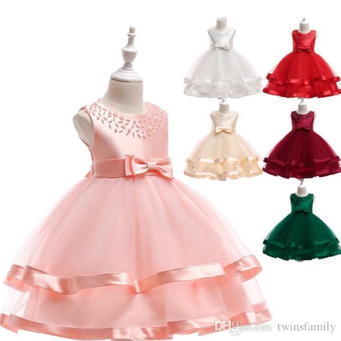 زهرة فتاة فستان الزفاف الصيف بنات فساتين الأميرة لحزب فساتين أزياء الفتيات الرقص فساتين ملابس أطفال مصمم 7 ألوان C1572