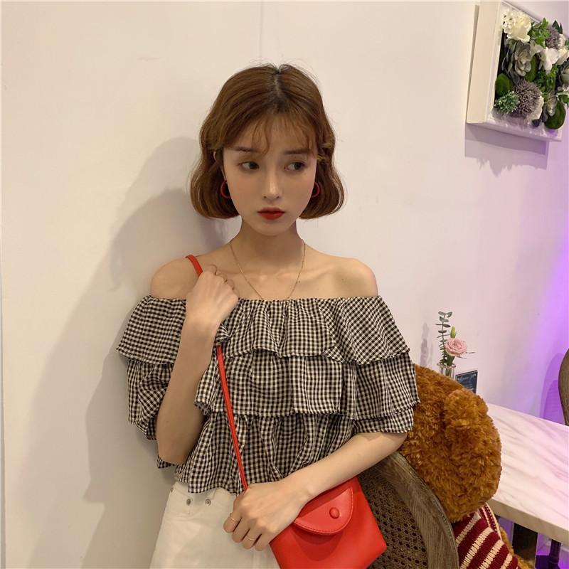 seksi kadın kısa kollu Tişörtlü yaz şık tatlı sıcak satış rahat çizgi boyun küçük kareli öğrenci gömlek fırfır moda genç kadın yeni S2987