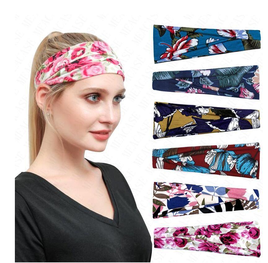 Женщины Цветочные оголовье Спорт на открытом воздухе диапазона волос Hairbands цветка печати потовые впитывающих Ленточнопильные женщин с широкими полями головной убор тюрбан продажа D6903