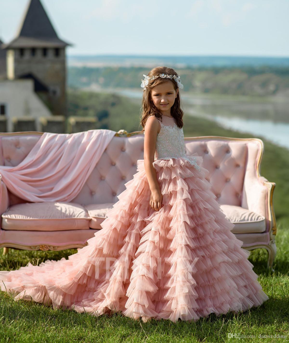 Schönheit Rosa Schichten Applique Perlen Mädchen Festzug Kleider Blumenmädchenkleider Feiertage / Geburtstag Rock Prinzessin Rock Benutzerdefinierte Größe 2-14 F113167