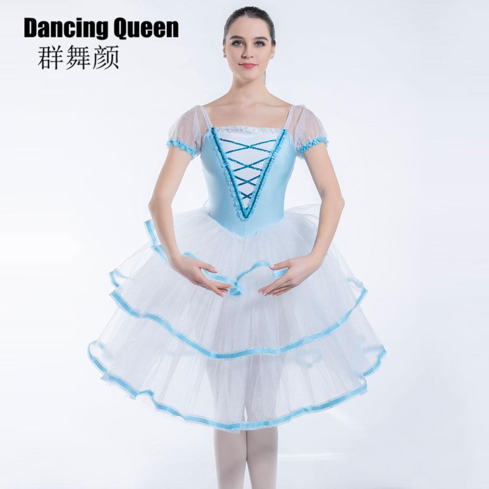 여자 여성을위한 19338 창백한 푸른 발레 투투는 퍼프는 발레리나 성인 어린이를위한 긴 로맨틱 소프트 튈 발레 드레스 슬리브