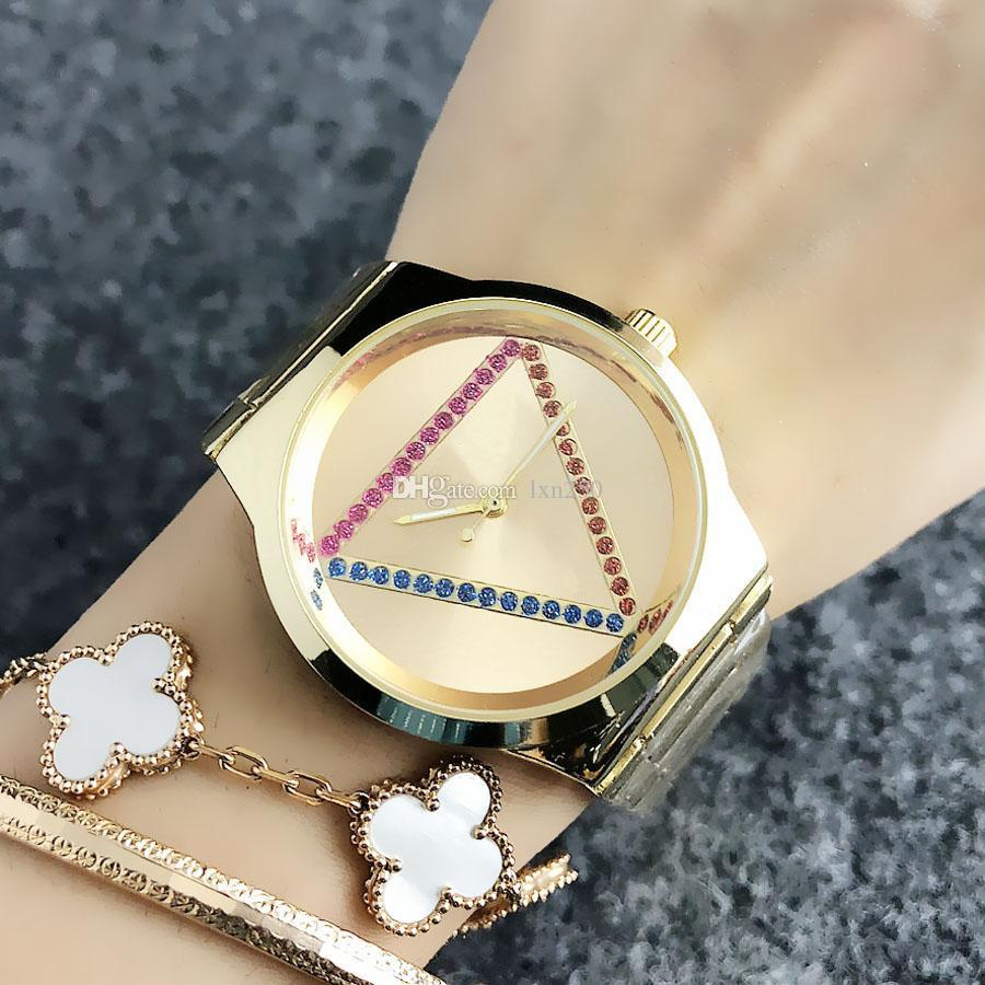 Fashion personality women's watch triangle crystal print ladies gift stainless steel analog quartz watch reloj mujer small dress casual wome
